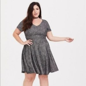 Torrid Silver Sparkle Skater Dress Sz 4